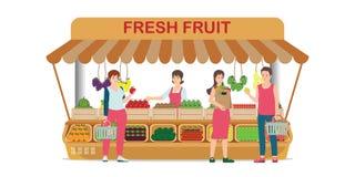 Tienda local de la fruta del mercado de la granja con el vendedor de la fruta stock de ilustración