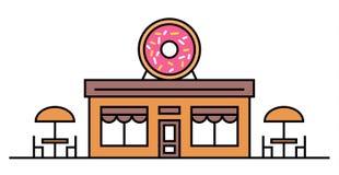 Tienda o café de los anillos de espuma con dos tablas Ejemplo plano coloreado del vector Diseño Letrero con el buñuelo sabroso gr stock de ilustración
