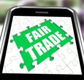 Tienda o compra Fairtrade de los medios de Smartphone del comercio justo ilustración del vector