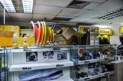 Tienda profesional de las cámaras de Nikon Imagen de archivo libre de regalías