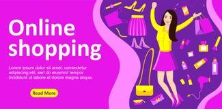 Tienda que hace compras en línea brillante de la página de bandera ilustración del vector
