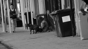 Tienda sin hogar del exterior en Bristol Reino Unido, gente del transeúnte almacen de metraje de vídeo