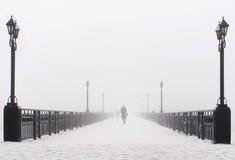 Tienda un puente sobre el paisaje de la ciudad en día de invierno nevoso de niebla Fotos de archivo libres de regalías