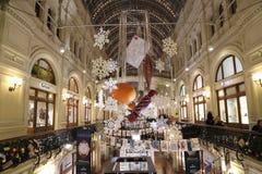 Tienda universal de la tubería interior (GOMA) en los días de fiesta de la Navidad (Año Nuevo), Plaza Roja, Moscú, Rusia Imagen de archivo libre de regalías