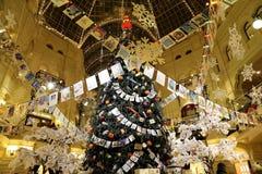 Tienda universal de la tubería interior (GOMA) en los días de fiesta de la Navidad (Año Nuevo), Plaza Roja, Moscú, Rusia Foto de archivo libre de regalías