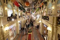 Tienda universal de la tubería interior (GOMA) en los días de fiesta de la Navidad (Año Nuevo), Plaza Roja, Moscú, Rusia Foto de archivo