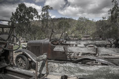Tienda vieja del coche del minetown Imagen de archivo libre de regalías
