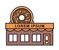 Tienda y café de los anillos de espuma con el letrero Ejemplo plano colorido, coloreado del vector Buñuelo sabroso grande con el  libre illustration