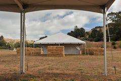 Tiendas blancas en un campo seco al aire libre Foto de archivo libre de regalías