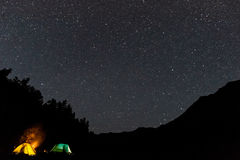 Tiendas debajo del cielo por completo de estrellas Fotografía de archivo