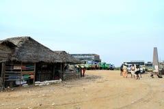 Tiendas en Dhanushkodi Fotografía de archivo libre de regalías