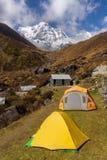 Tiendas en hierba en el campo bajo de Machapuchare con el fondo de la montaña del sur de Annapurna imagen de archivo