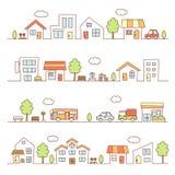 Tiendas y casas en una calle Fotos de archivo libres de regalías