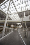 Tiende un puente sobre transiciones en pasillo del edificio moderno de la arquitectura Fotografía de archivo