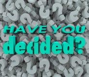 Tiene usted pregunta bien escogida decidida Mark Background de la respuesta final Imagen de archivo libre de regalías