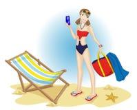 Tiener bij het strand Stock Afbeelding