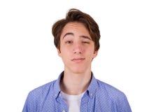 Tiener in blauwe T-shirt Royalty-vrije Stock Foto