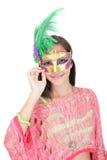 Tiener die Carnaval masker dragen Stock Fotografie