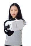 Tiener die 3D beschermende brillen overgaan Stock Afbeelding