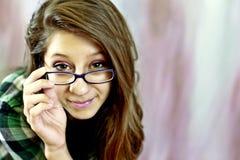 Tiener die glazen draagt Stock Fotografie