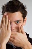 Tiener die half gezicht behandelt Stock Fotografie
