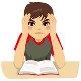Tiener die hard bestuderen stock illustratie