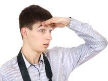 Tiener die iemand zoeken Stock Foto's