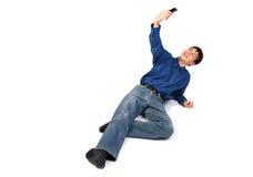 Tiener die met telefoon ontspruit Stock Foto