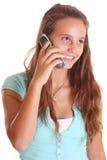 Tiener die op celtelefoon spreekt Royalty-vrije Stock Foto