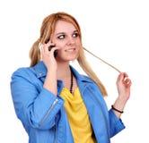 Tiener die op telefoon spreken Royalty-vrije Stock Foto's