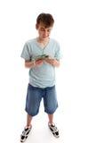 Tiener die zijn geld telt royalty-vrije stock afbeeldingen