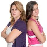Tiener en haar moeder boos bij elkaar Stock Afbeelding