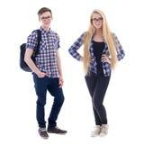 Tiener en meisje in oogglazen op wit wordt geïsoleerd dat royalty-vrije stock afbeelding