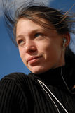 Tiener en muziek mp3 Stock Foto's