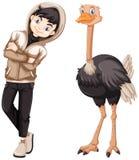 Tiener en wilde struisvogel Royalty-vrije Stock Afbeelding