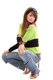 Tiener in gescheurde jeans Stock Afbeelding