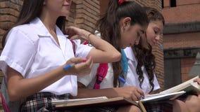 Tiener het Vrouwelijke Studenten Bestuderen stock videobeelden