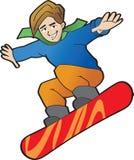 Tiener jong geitje op een snowboard Royalty-vrije Stock Foto's