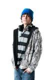 tiener jongen met hoofdtelefoons Stock Foto