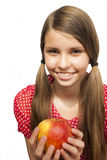 Tiener met Apple Stock Afbeelding
