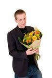 Tiener met boeket van bloemen royalty-vrije stock foto's