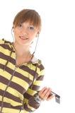 Tiener met celtelefoon Royalty-vrije Stock Afbeeldingen