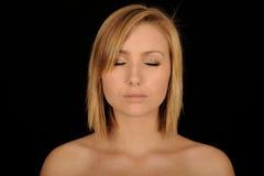 Tiener met gesloten ogen stock afbeelding