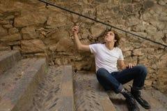 Tiener met Karakter in Girona, Spanje Stock Fotografie