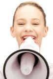 Tiener met megafoon royalty-vrije stock afbeelding