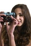 Tiener met plastic camera stock afbeelding