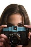 Tiener met plastic camera Royalty-vrije Stock Afbeelding