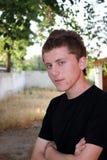 Tiener met pukkels op zijn gezichtsportret Royalty-vrije Stock Afbeelding