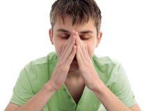 Tiener met spanning, zorgen of hoofdpijn stock afbeeldingen