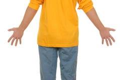 Tiener met uitgespreide brede handen stock afbeelding